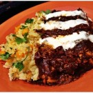 Mole Chicken Enchiladas and Mango Cilantro Jasmine Rice